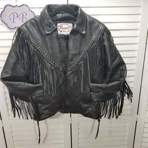 Vintage Womens ROUTE 66 Fringe Leather Motorcycle